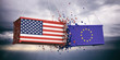 US of America and European Union flags crashed containers on blue cloudy sky background. 3d illustration