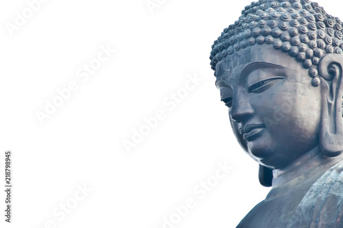 Tuinposter Boeddha Golden Buddha statue from Thailand.isolated on white background,symbol of religion buddhism.design with copy space add text