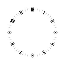 Clock Face. Hour Dial With Numbers. Dashes Mark Minutes And Hours. Simple Flat Vector Illustration.