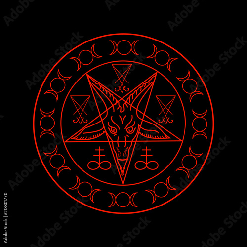 Wiccan symbols- Cross of Sulfur, Triple Goddess, Sigil of Baphomet and Lucifer Wallpaper Mural