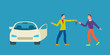 Car business sharing service concept, car rental illustration. Man gives car key to driver. Modern flat style design