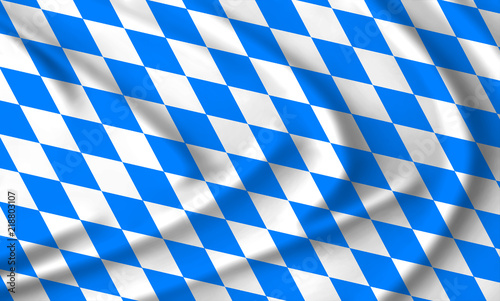 The Bavarian flag waving from the wind; proudly fluttering in the wind Canvas Print