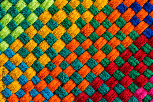 Photo Diagonally angled interweaving threads of fabric