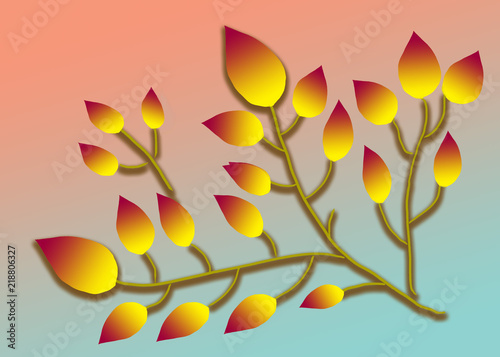 Fotografie, Obraz  Bright autumn branch leaves drawing