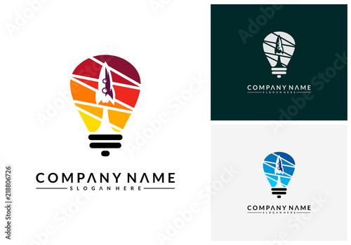Photo Rocket Idea logo template, Modern Bulb Rocket designs concept