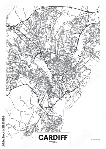 Cuadros en Lienzo Vector poster detailed city map Cardiff