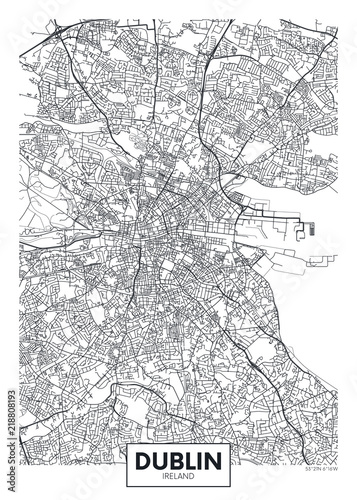 Canvas Print Vector poster detailed city map Dublin