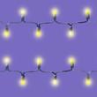 Seamless pattern of festive garland of light bulbs, watercolor illustration.