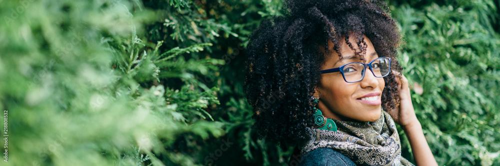 Fototapeta Banner of fashinable woman with glasses