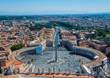 Rome, Italy. View from the dome of the cathedral at Saint Peter's Square in Vatican and aerial panorama of Rome