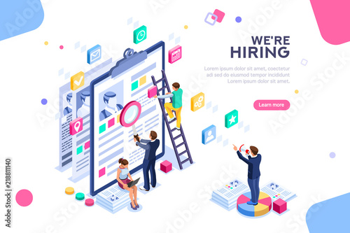 Job Presentation Fair Banner Page Choose Career Or Interview A Candidate Job Agency Human Resources Creative Find Experience Work Concept With Character And Text Flat Isometric Vector Illustration Buy This Stock