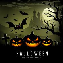 Happy Halloween Full Moon Three Pumpkins, Bat, Tree, Castle And Full Moon Background Vector