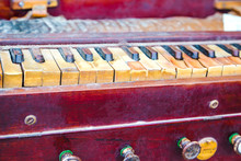 Close-up Of  Traditional Old And Dusty Harmonium