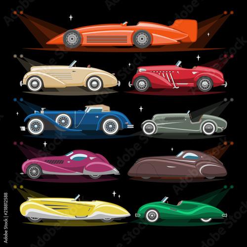 Art deco samochód wektor retro luksusowy auto transport i art deco nowoczesny samochód ilustracja zestaw starego pojazdu samochodowego i citycar z oświetleniem reflektorów na białym tle na ilustracji