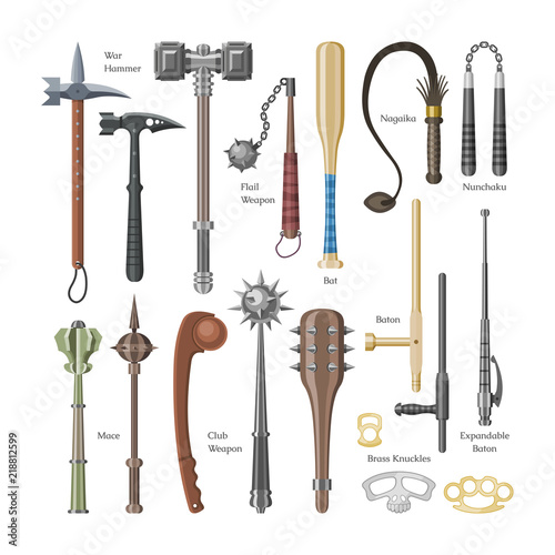 Fototapeta Medieval weapons vector ancient protection warrior and antique metal hammer illustration weaponry set of flail-weapon and armour mace equipment isolated on white background obraz