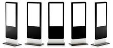 Five Information Displays. Banner Stands In Your Design. 3D Rendering.