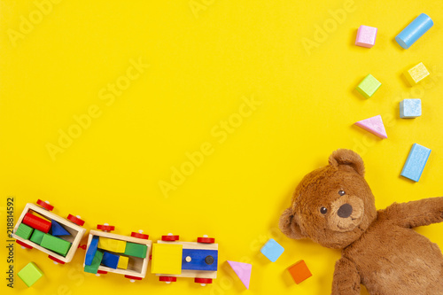 Baby Kids Toys Background With Teddy Bear Wooden Train Colorful