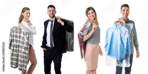Slika na platnu Set with people and clothes in plastic bags on white background