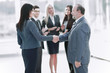 Business handshake and business people concept. Two men shaking hands.
