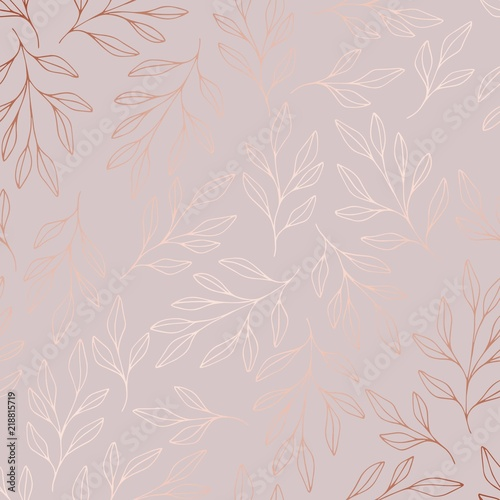 Rose gold. Vector pattern with branches Wallpaper Mural