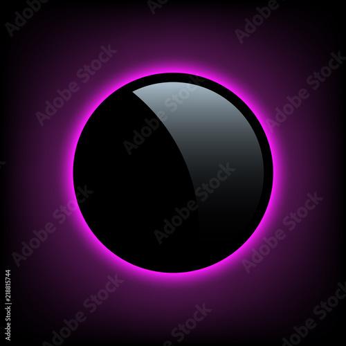 Fotografía Black button with purple glow behind. Vector design element.