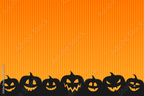 halloween background with funny silhouettes of pumpkins vector