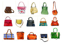 Hand Drawn Watercolor Set Of Colorful Stylized Female Bags