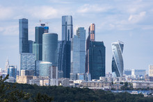 Sparrow Hills In Front Of Moscow City Business Centre In Moscow  In Russia