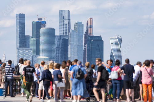 People at the Sparrow Hills, tourists in front of Moscow City business centre in Moscow in Russia