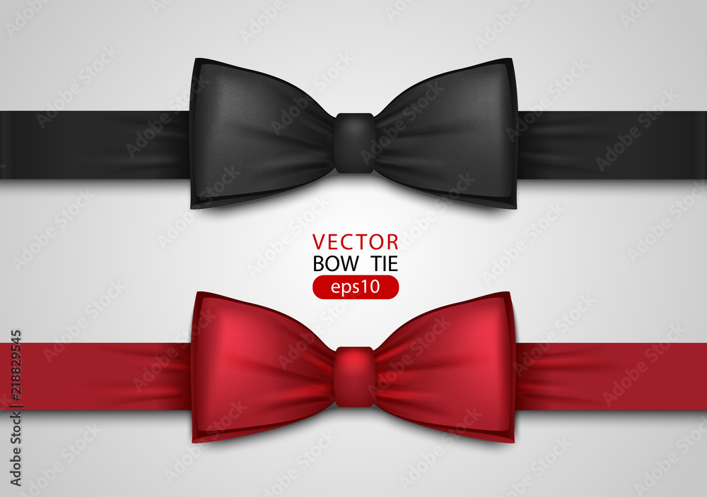 Fototapeta Black and red bow tie, realistic vector illustration, isolated on white background. Elegant silk neck bow. Vip event accessory