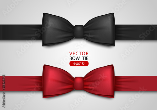 Fotografiet Black and red bow tie, realistic vector illustration, isolated on white background