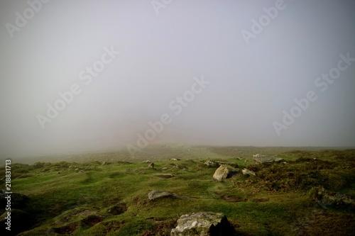 In de dag Bleke violet Foggy morning landscape in the Brecon Beacons Wales