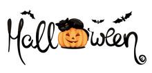 Black Cat On Pumpkin / Funny Vector Illustration, Halloween Decoration
