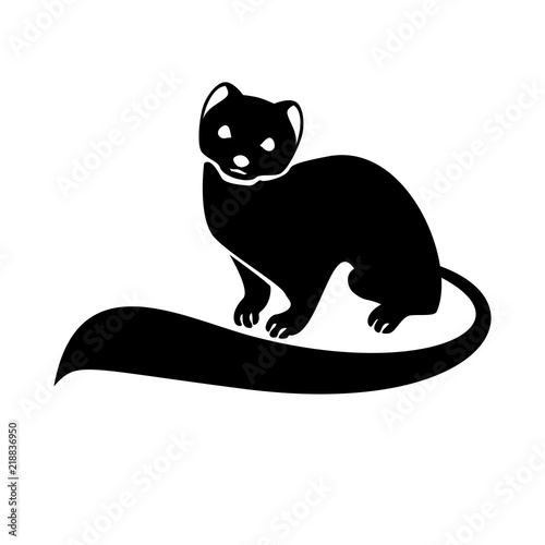 Stylized monochrome vector isolated image of the ermine Fototapet