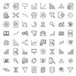 Leinwandbild Motiv Modern outline style analysis icons collection.