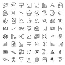 Modern Outline Style Analysis Icons Collection.