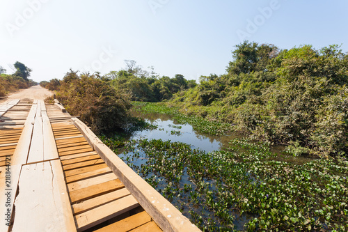 Wooden bridge along Transpantaneira road, Brazil Canvas Print