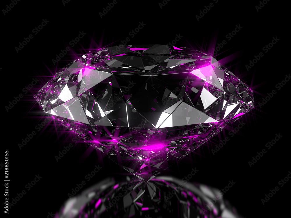 Fototapeta Close-up on a diamond on a semi glossy plane with pink reflection