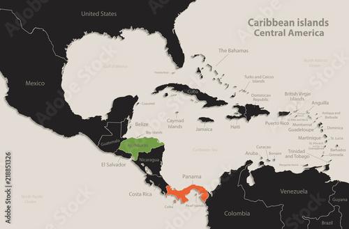 Caribbean islands Central America map Black colors blackboard separate states in Canvas Print
