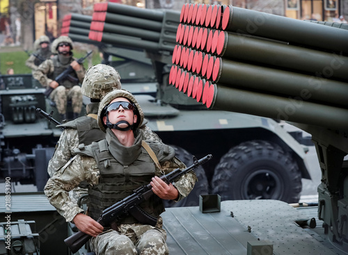 Grad multiple rocket launcher systems drive during a