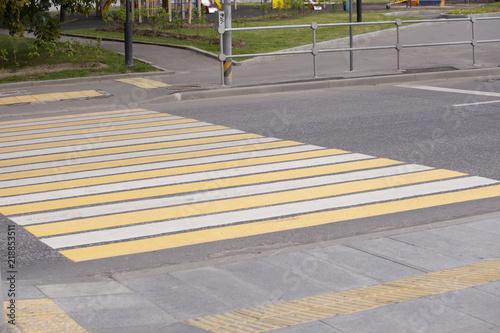 Foto Zebra traffic walk way pedestrian crossing on road