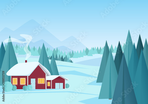 Christmas winter landscape with small red house in pine forest vector illustration. Cartoon winter landscape.