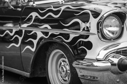 An Old Muscle Car With A Flame Paint Job In Black And White Buy