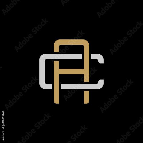 Obraz na plátně Initial letter C and A, CA, AC, overlapping interlock logo, monogram line art st