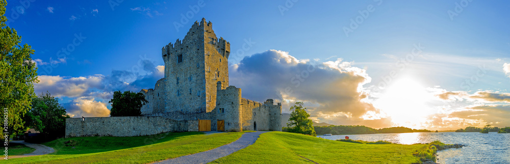 Fototapety, obrazy: Idyllic landscape of Ross Castle in the Killarney National Park in Ireland. Travel by car through the Ring of Kerry.