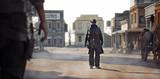 Zachodni banita walczący z kowbojem w klasycznej strzelaninie w centrum miasta. Renderowania 3d - 218869944