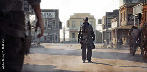 Fotografia, Obraz  Western outlaw facing off against a cowboy in a classic gunfight in the center of town