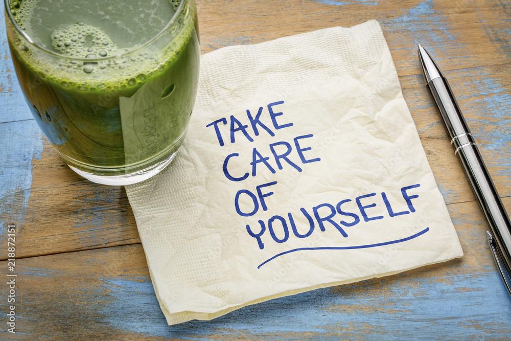 Fototapety, obrazy: take care of yourself - napkin concept