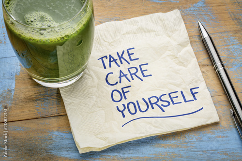 Fototapeta take care of yourself - napkin concept obraz