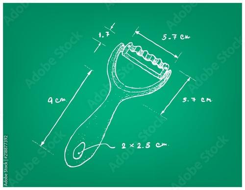 Fotografie, Obraz  Illustration Hand Drawn Sketch Dimension of Fruit and Vegetable Knife Slicer or Grated Utensil Used in Food Preparation